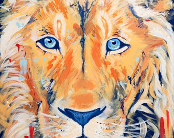 Lion Prince--Digital Download of Original Art--Colorful Art Kids Decor