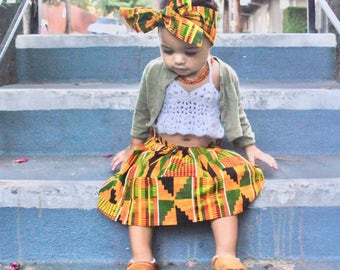 Girls African Kente Skirt, Head  Wrap, Girls Skirt, African Skirt, African Clothing, African Baby Clothes, African Outfit