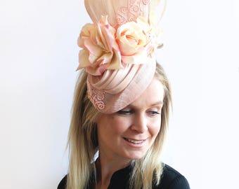 Handmade millinery soft pink floral fascinator for Spring Racing