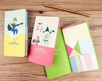 Cute sticky book set,choose from 3 different colors & style,memo pad, planner notes,to do list pad,mini sticky notes pad