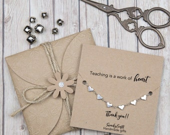 Teacher gifts - thank you teacher -  teaching is a work of heart - gifts under 20 - custom teacher gifts - silver bracelets