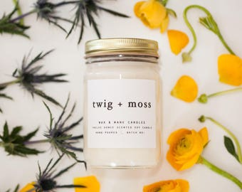 Twig + Moss 12 oz Soy Candle - Cascade Mountain Inspired Candle