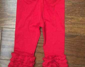 Ready to ship! Red Ruffle Leggings, Ruffle Leggings, Girls Leggings, Christmas Pants