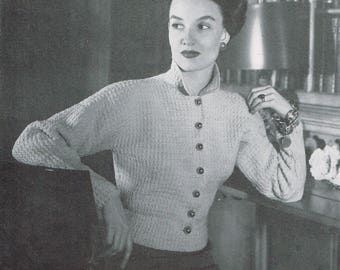 Vintage 40s Knitting Pattern - Woman's Dropped Shoulder Jacket from 1946 - instant download PDF - 1940's Retro Top