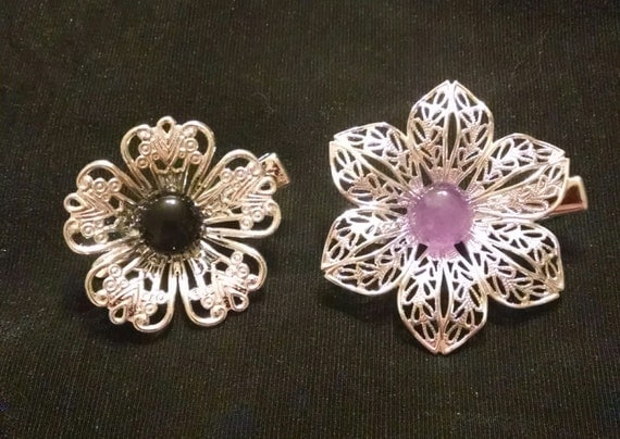 NEO BLOSSOMS set of two exquisite natural stone tichel clips, tichel pins, hair clips, hair pins, hair jewelry