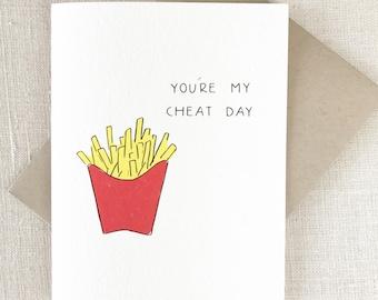 Funny Birthday Card, Best Friend Card, Boyfriend birthday card, Card for Him, Girlfriend Card,  Best friend birthday card, CHEAT DAY, food