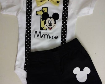 Mickey Mouse 1st birthday outfit - black, yellow and white