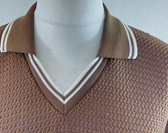 Vintage 60s mens polo shirt tan collared top size medium