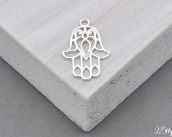 925 Sterling Silver Hamsa Hamsa Pendant, Silver Hamsa, Small Hamsa, jewelery making, finished jewelery, Hamsa, Hand Fatima, Buddha Hand