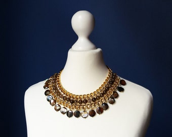 Gemstone Collar Bib Necklace Gold Brown Chain Necklace Mother-Of-Pearls Czech Glass Beads Statement Jewelry