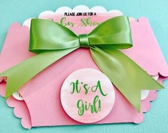 Spring watercolor diaper baby shower invitation