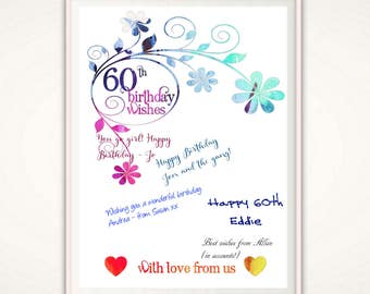 60th Birthday Gifts For Women - 60th Birthday For Women, 60th Birthday Print, PRINTABLE Gift for Coworker, Gift for Mom, Present, From Us,