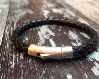Leather/Braided leather/ sterling silver/ bracelet