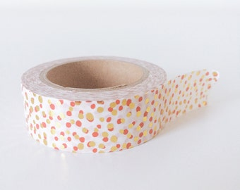 Gold and red sparkling dot washi tape