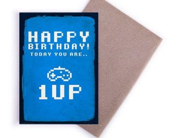 Birthday Card - Birthday, Happy Birthday, Cards, Greeting Cards, 1up, Retro, Gamer, Gift Cards