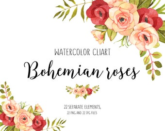 Flower clipart Floral clipart Roses watercolor clipart Roses clipart Boho flower clipart Roses watercolor, Flower Boho, watercolour