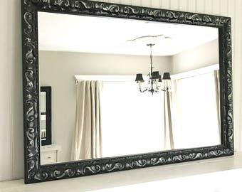 Large Black Vanity Mirror, Distressed Mirror, Bathroom Mirror, Nursery Mirror, Shabby Chic, Hollywood Regency