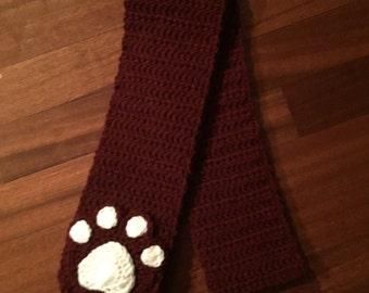 Crochet Paw Print Scarf