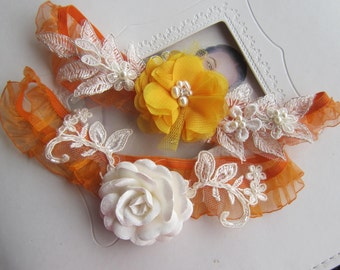 Wedding garter set/ Orange garter set, Bridal garter set, Garter belt, Ivory Rose, Spring Wedding