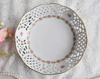 plate vintage perfored  plate Form Marienbad Germany floral plate german openwork porcelain perfored plate