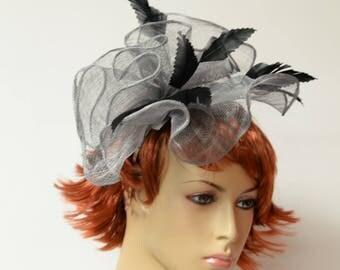 Grey/black sinamay/feather fascinator, Kate Middleton Style Fascinator , Kentucky Derby Fascinator, English Royal Hat, Wedding