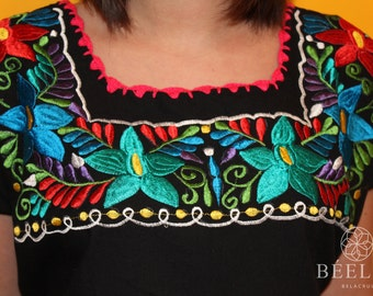 Embroidery Black Dress - Vintage - Mexican
