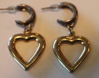 Sterling silver hoop dangle sterling vermeil heart earrings posts