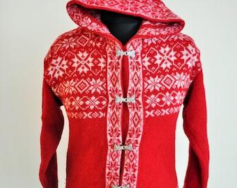 Vintage Norwegian Sweater / Norway pure wool / Women Men / Silver clasps / Small S / Nordic / Scandinavian / Cardigan / Winter / Red Hoodie