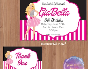 Barbie Birthday Invitations with Thank You note