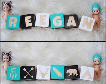 DOUBLE SIDED Personalised Baby Name Wooden Blocks