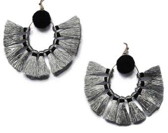 Stunning Black Silver Sandbar Fringe Statement Earrings