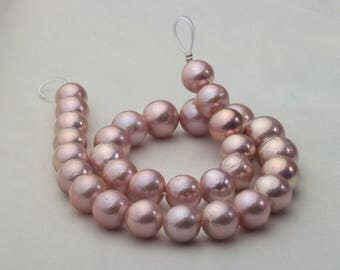 Light Purple Fresh Water Pearl Strand Necklace with Metallic overtone,Nuclear Pearl Strand,EXP001