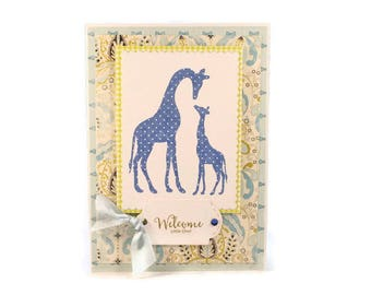New Baby Card, Baby Boy, Welcome Little One, Baby Shower Card, Giraffe, Mom And Baby Card, Baby Gift, Cottage Chic, Hand Stamped Baby Card
