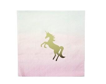 Napkins   Unicorn Beverage Napkins   Pastel Ombre Napkins   Unicorn Party   Gold Foil   16 Paper Napkins   The Party Darling