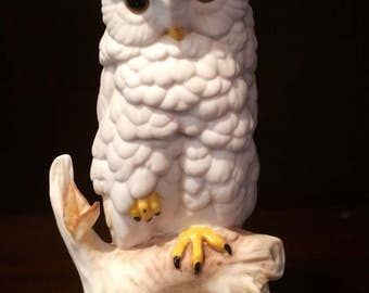 Adorable White Vintage Signed  CYBIS BABY OWL