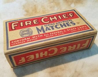 Fire Chief brand kitchen matchbox, full (1940s)