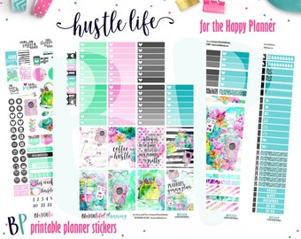 Hustle Life | Weekly Printable Planner Kit | Planner Stickers | Cut Line Files | for use with Happy Planner
