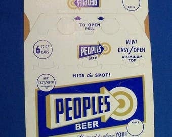 Peoples Brewery new, never unfolded 6 pack case, Vintage Oshkosh Wisconsin, Rare!