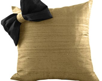 Black and Gold Silk Pillow, Bow Pillow,  SILK Pillow Cover, Gold Throw Pillow in 18x18, 20x20