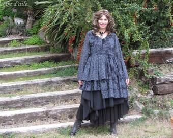Beautiful dress and skirt set asymmetrical boho, romantic, shabby chic, mori, Ewa blue, black, cotton