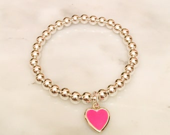 Heart Charm Bracelet with 6mm Sterling Silver Beads