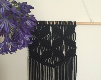 The Witching Hour - Black Macrame Wallhanging