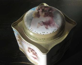 Angel Friendship Theme Storage Tin / Scalloped-shaped Angel Tin / Decorative Angel Tin / Friendship Gift Tin / Cookie Tin