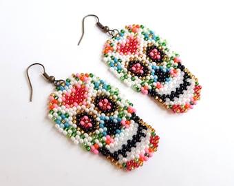 Rainbow skull earrings – day of the dead skull earrings – seed bead sugar skull earrings – large white beaded human skull earrings