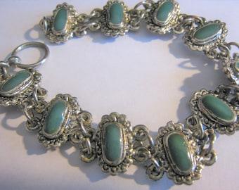 Silver Tone & Green Bracelet