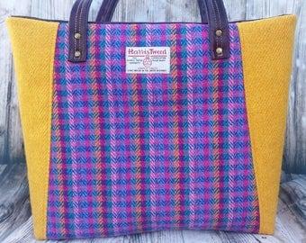Candy Check/Yellow Harris Tweed Tote Bag, Summer Bag