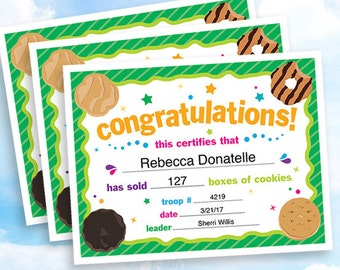 Cookie Sales Congratulations Certificate, instant download, customizable PDF for Girl Scout troop