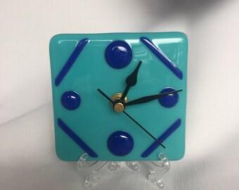 Fused Glass Mini Desk Clock