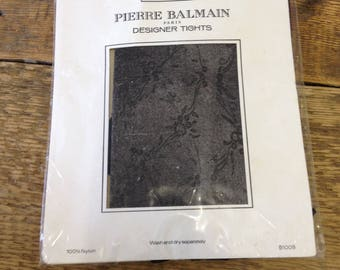 Vintage Pierre Balmain  -Black Floral Patterned Tights - One Size Retro Nylons Hosiery. Sealed Package.