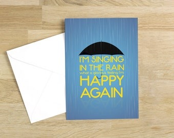Singing in the Rain - I'm happy again Quote Minimal Style Greetings Card